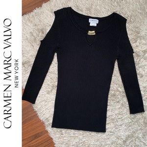 🆕 Carmen Marc Valvo Cold Shoulder Ribbed Sweater